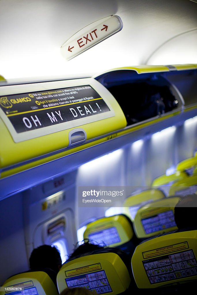 Emergency exit sign on a RyanAir flight at Allgaeu Airport on February 18, 2012 in Memmingen, Germany.