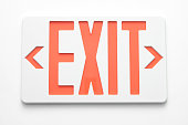 Emergency exit signs on white wall