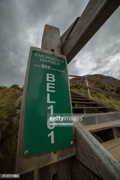 Emergency marker on Bells beach, Australia.