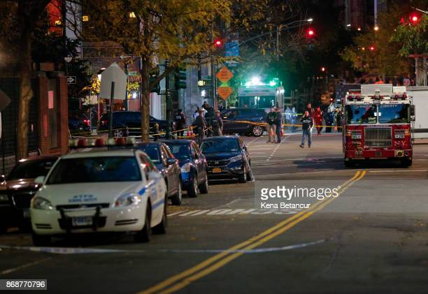 Emergency personal respond after a man driving a rental truck struck and killed eight people on a jogging and bike path in Lower Manhattan on October...