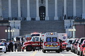 Emergency personel respond during a lock down after shots were reportedly fired at the US Capitol Visitor Center March 28 2016 in Washington DC A...