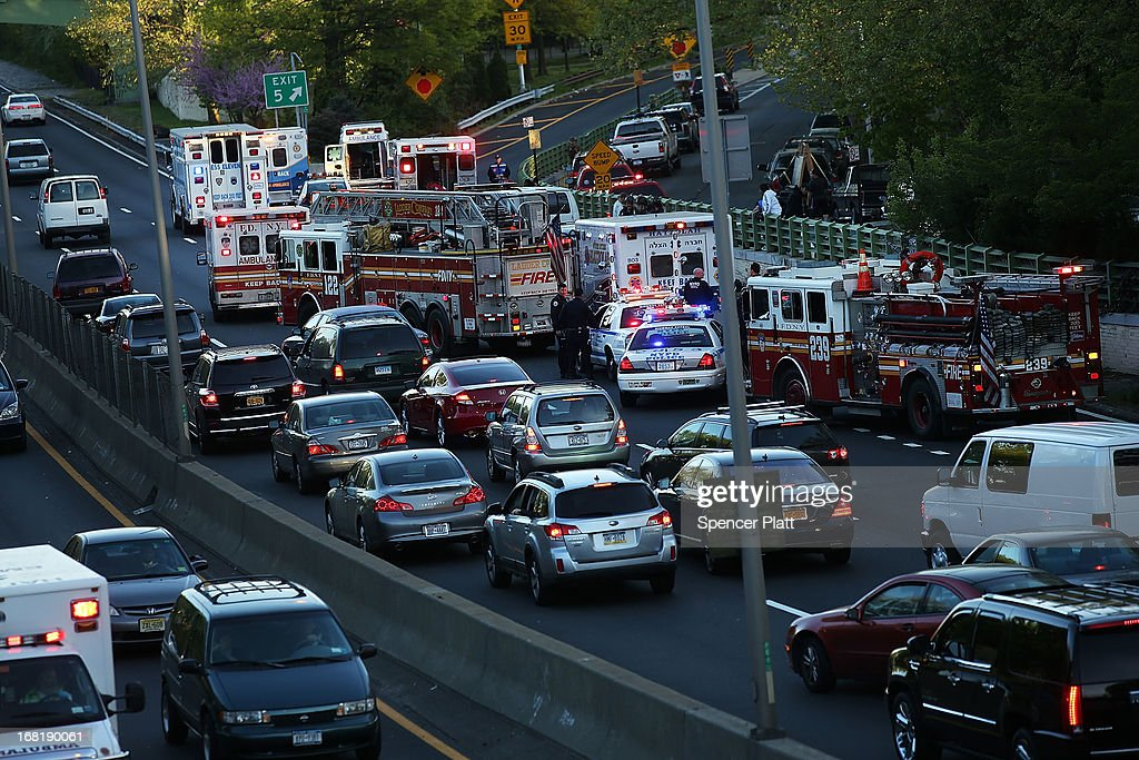 Emergency responders are on the scene of a multi-car accident on May 6, 2013 in the Brooklyn borough of New York City. It was reported that seven people were aided in the early evening pile-up, which occurred on the Prospect Expressway.