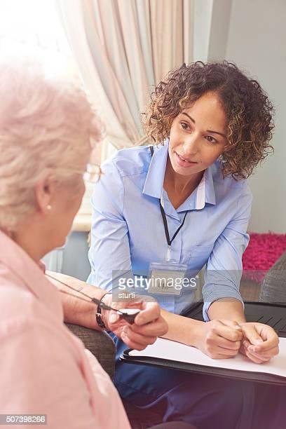 emergency response pendant button for senior woman