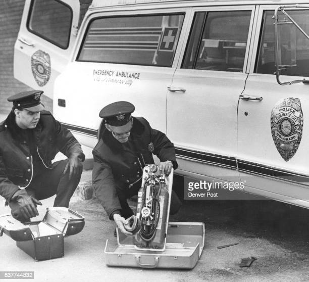 Emergency Service Just Five Minutes away Larry McGee and James Green show equipment in Commerce City police ambulance Credit Denver Post