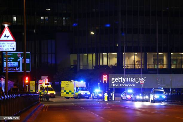 Emergency services arrive close to the Manchester Arena on May 23 2017 in Manchester England An explosion occurred at Manchester Arena as concert...
