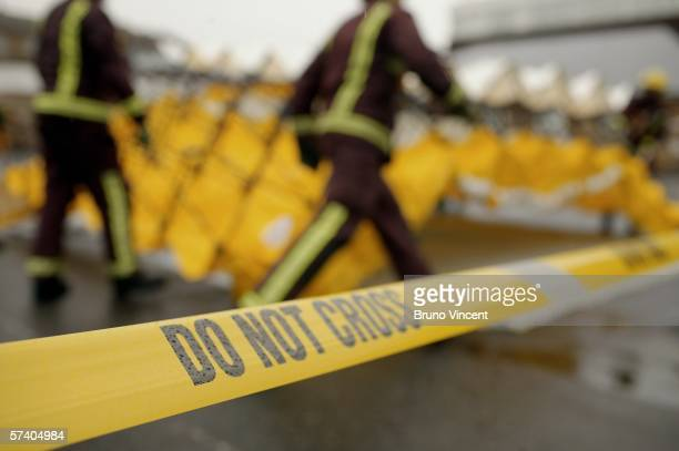 Emergency services exercise their abilitys in tackling a major contamination incident at Mayday hospital on April 23 2006 in Croydon England The...