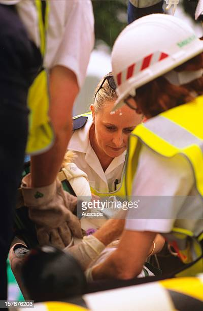 Emergency services in action at car accident demonstration Miriam Vale Queensland Australia