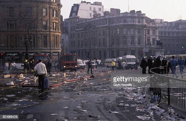 Emergency services in Trafalgar Square after the Poll Tax riot London 31st March 1990