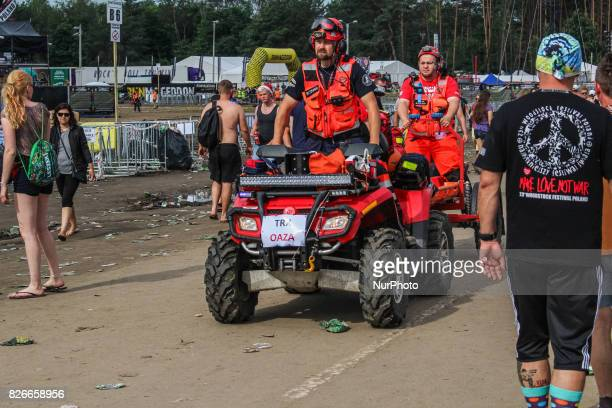 Emergency services members are seen Over 200000 people takes part in one of the largest in Europe openair music festival in Kostrzyn Nad Odra Poland...