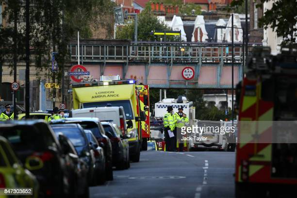 Emergency services outside of Parsons Green Underground Station on September 15 2017 in London England Several people have been injured after an...