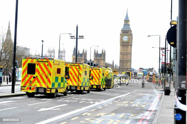 Emergency services respond to an incident on Westminster Bridge on March 22 2017 in London England A police officer has been stabbed near to the...