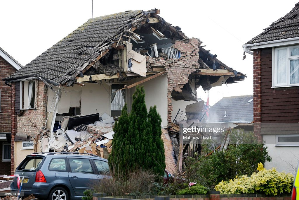 Emergency services work at the scene of a suspected gas explosion at a residential property on February 5, 2014 in Clacton-on-Sea, England. Ten people received medical treatment following the explosion, with one patient remaining in a life threatening condition.