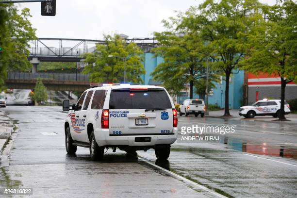 Emergency vehicles at the scene of CSX freight train derailment near the Rhode Island Avenue metro station in Washington DC on May 1 2016 As many as...