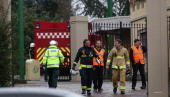 Emergency workers attend a fire at Chessington World of Adventures theme park on December 21 2013 in Chessington England A small fire has been...