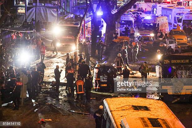 Emergency workers respond at the scene after an explosion in Ankara's central Kizilay district on March 13 2016 in Ankara Turkey The Ankara...