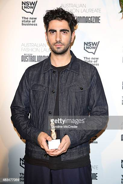 Emerging designer winner Christopher Esber poses at the Australian Fashion Laureate during MercedesBenz Fashion Week Australia 2014 at Star Lounge...