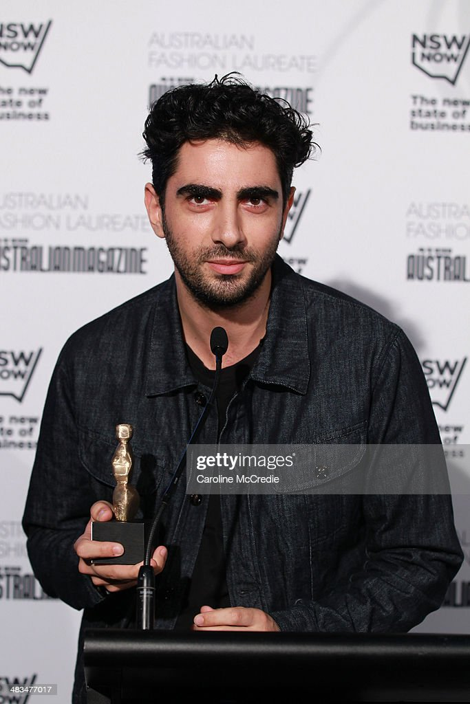 Emerging designer winner Christopher Esber speaks at the Australian Fashion Laureate during Mercedes-Benz Fashion Week Australia 2014 at Star Lounge, Carriageworks on April 9, 2014 in Sydney, Australia.