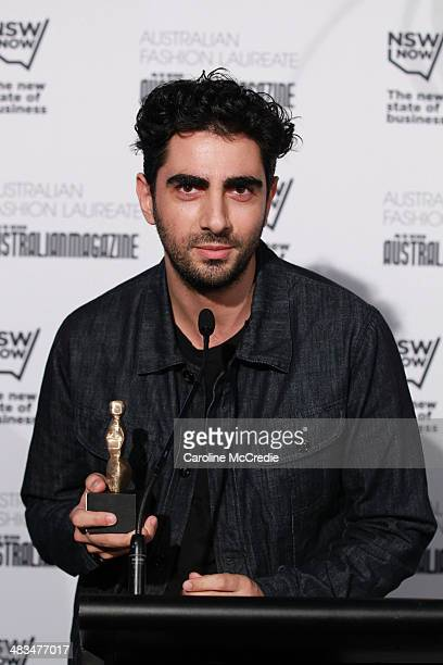 Emerging designer winner Christopher Esber speaks at the Australian Fashion Laureate during MercedesBenz Fashion Week Australia 2014 at Star Lounge...