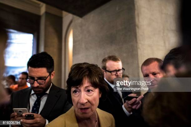 WASHINGTON DC Emerging from a meeting with other Senators moderate Republican Senator Susan Collins answers questions from journalists concerning the...