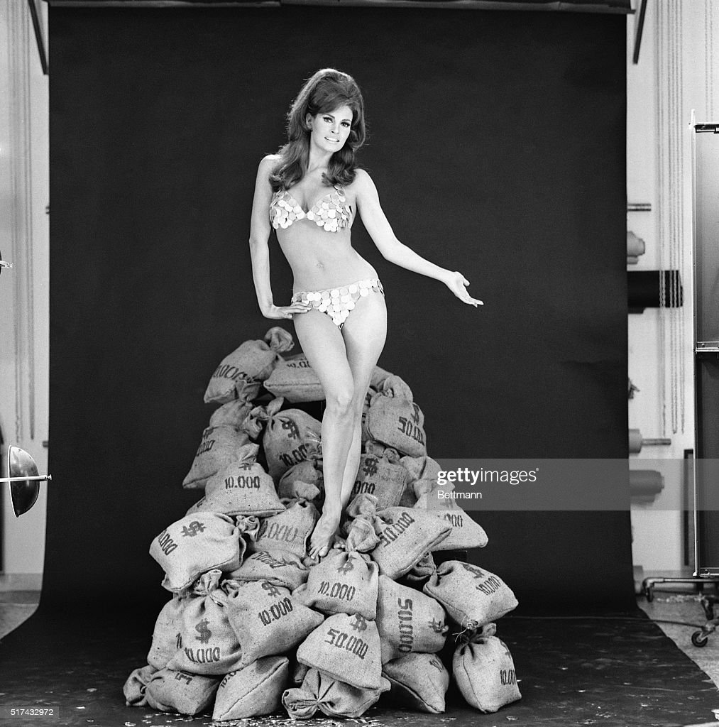 raquel welch in atop money bags pictures getty images