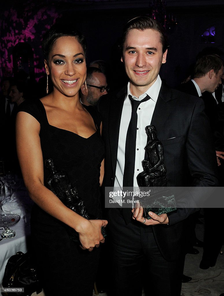 Emerging Talent winner Cush Jumbo (L) and Outstanding Newcomer winner Seth Numrich attend an after party following the 59th London Evening Standard Theatre Awards at The Savoy Hotel on November 17, 2013 in London, England.
