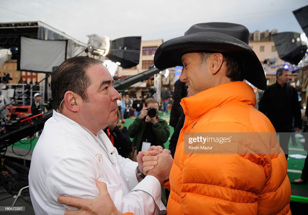Emeril Lagasse and Tim McGraw attend ABC's 'Good Morning America' at the House of Blues on February 1, 2013 in New Orleans, Louisiana.