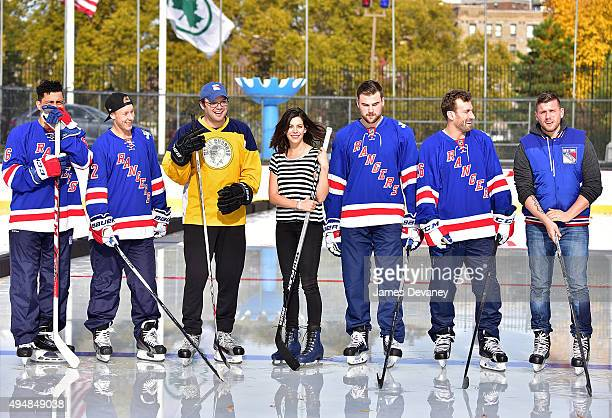 Emerson Etem Antti Raanta Mark Gessner Lindsey Broad Dylan McIlrath Jarrett Stoll and Chris Distefano attend the New York Rangers and the Cast of...