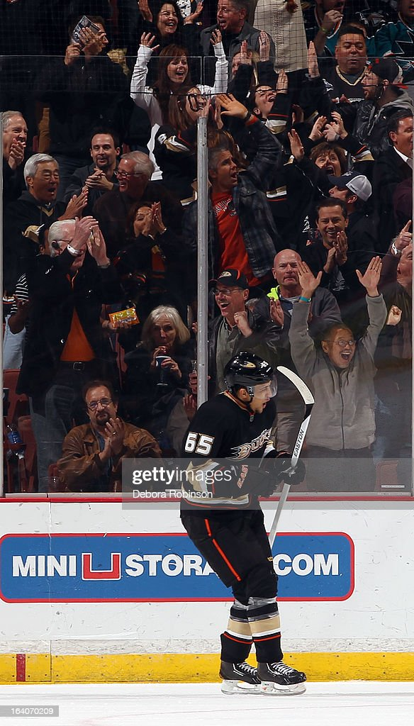 <a gi-track='captionPersonalityLinkClicked' href=/galleries/search?phrase=Emerson+Etem&family=editorial&specificpeople=6365314 ng-click='$event.stopPropagation()'>Emerson Etem</a> #65 of the Anaheim Ducks celebrates after assisting on a goal during the game against the San Jose Sharks on March 18, 2013 at Honda Center in Anaheim, California.