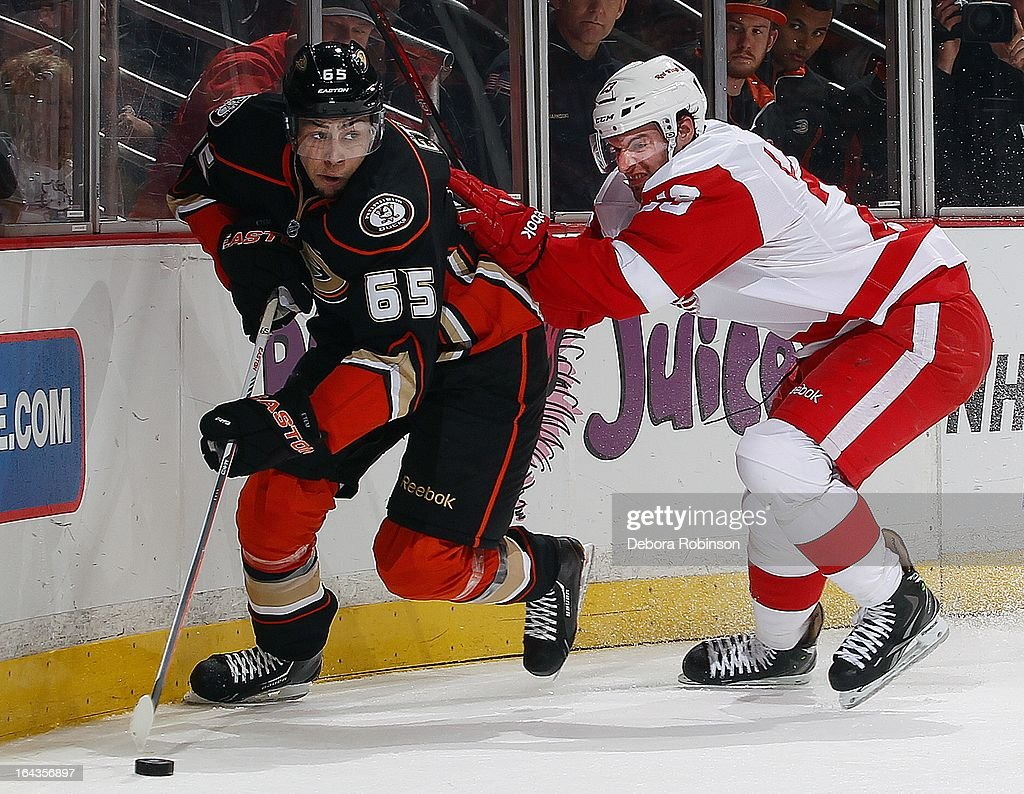 Emerson Etem #65 of the Anaheim Ducks digs for the puck along the board past Brian Lashoff #23 of the Detroit Red Wing. March 22, 2013 at Honda Center in Anaheim, California.