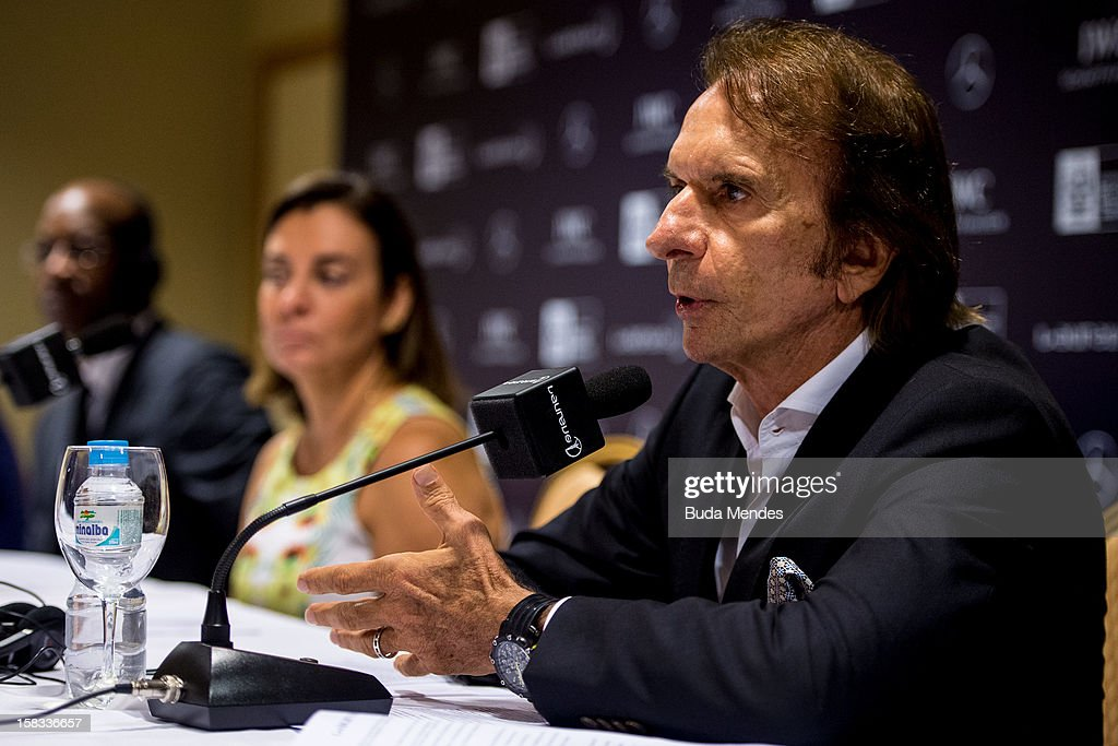 <a gi-track='captionPersonalityLinkClicked' href=/galleries/search?phrase=Emerson+Fittipaldi&family=editorial&specificpeople=217553 ng-click='$event.stopPropagation()'>Emerson Fittipaldi</a> (right) during a press conference to announce the Nominees for the 2012 Laureus World Sports Awards at Windsor Atlantica Hotel on December 13, 2012 in Rio De Janeiro, Brazil. The Laureus World Sports Awards is recognised as the premier honours event in the international sporting calendar as stars of the sporting world come together to salute the finest sportsmen and sportswomen of the year.