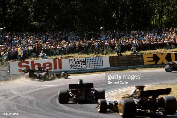 Emerson Fittipaldi LotusFord 72D Grand Prix of Great Britain Brands Hatch 15 July 1972 Emerson Fittipaldi skids off the track during the 1972 Grand...