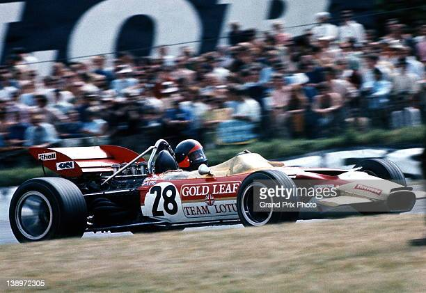 Emerson Fittipaldi of Brazil drives the Gold Leaf Team Lotus Lotus 49C Ford V8 during the British Grand Prix 18th July 1970 at the Brands Hatch...