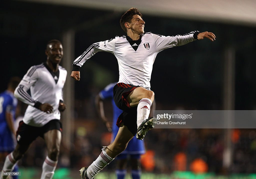 Emerson Hyndman of Fulham celebrates after scoring the team's second goal during the FA Youth Cup Final: First Leg match between Fulham and Chelsea at Craven Cottage on April 28, 2014 in London, England.