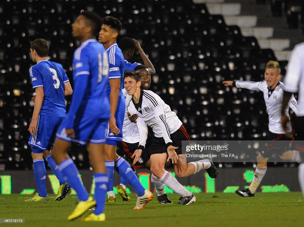Emerson Hyndman of Fulham celebrates scoring their second goal during the FA Youth Cup Final First Leg match between Fulham U18 and Chelsea U18 at Craven Cottage on April 28, 2014 in London, England.