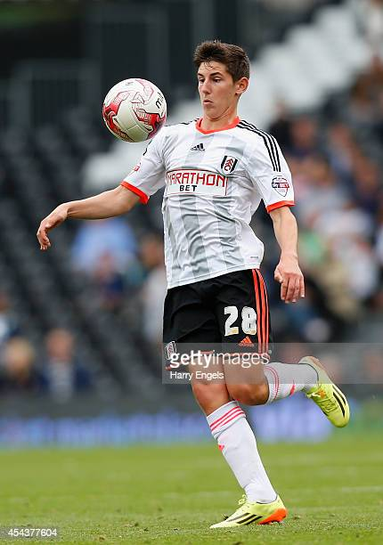 Emerson Hyndman of Fulham in action during the Sky Bet Championship match between Fulham and Cardiff City at Craven Cottage on August 30 2014 in...