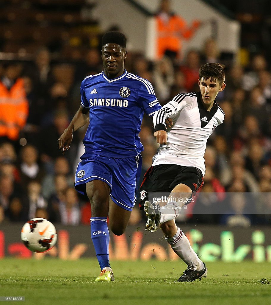 Emerson Hyndman of Fulham scores the teams second goal during the FA Youth Cup Final: First Leg match between Fulham and Chelsea at Craven Cottage on April 28, 2014 in London, England.