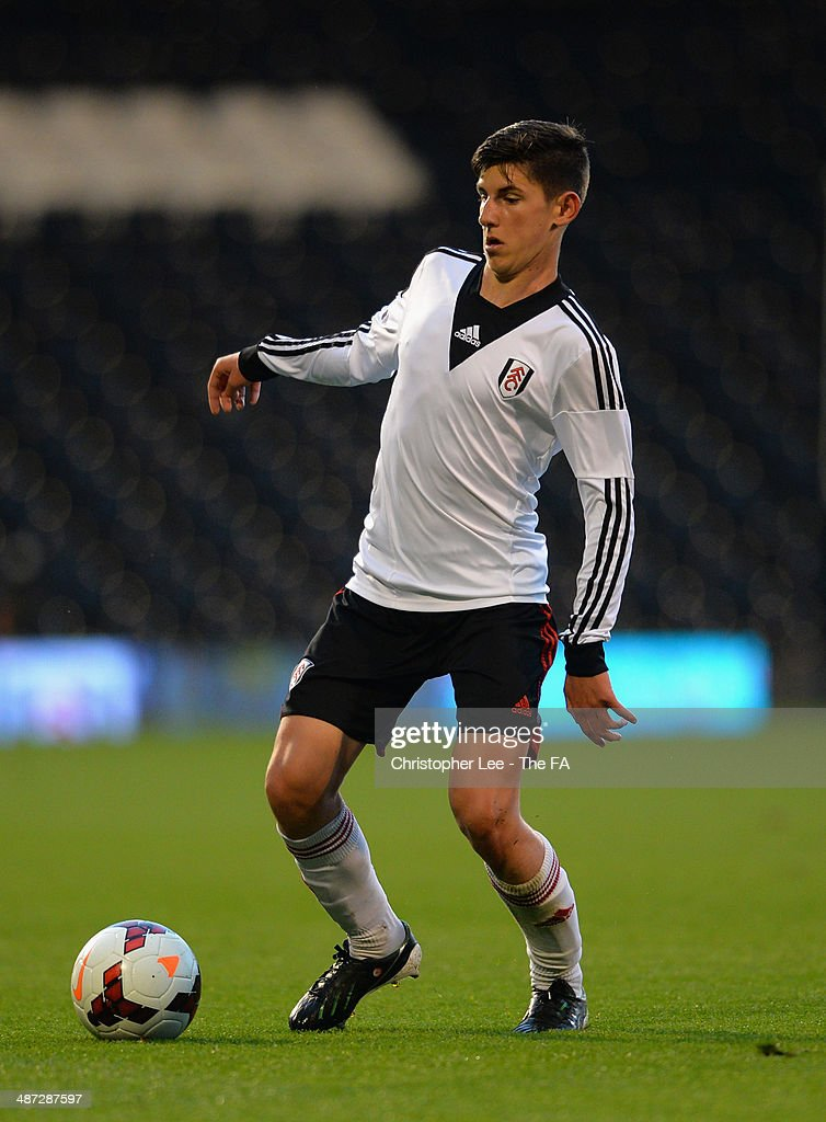 Emerson Hyndman of Fulham U18 in action during the FA Youth Cup Final First Leg match between Fulham U18 and Chelsea U18 at Craven Cottage on April 28, 2014 in London, England.