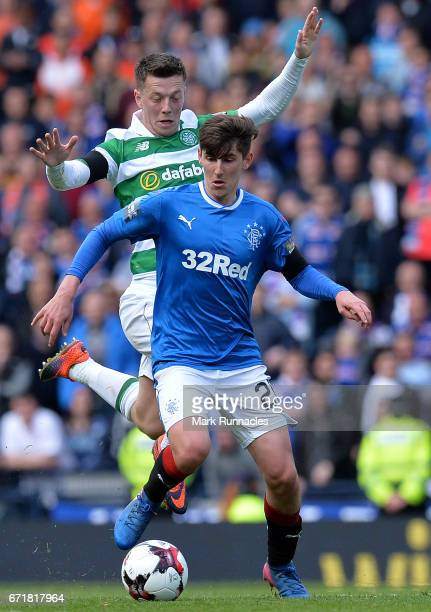 Emerson Hyndman of Rangers is tackled by Callum McGregor of Celtic during the William Hill Scottish Cup SemiFinal between Celtic FC and Rangers FC at...