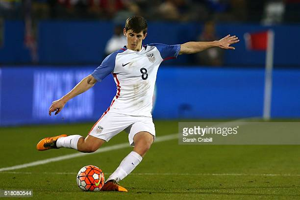 Emerson Hyndman of the US Under23 Men's National Team kicks during the second half of the 2016 CONCACAF Olympic Qualifying playoff against Colombia...