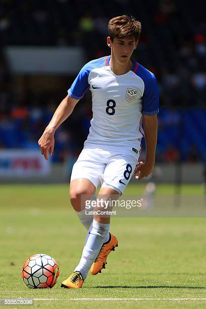 Emerson Hyndman of USA drives the ball during an international friendly match between Puerto Rico and USA at Juan Ramon Loubriel Stadium on May 22...