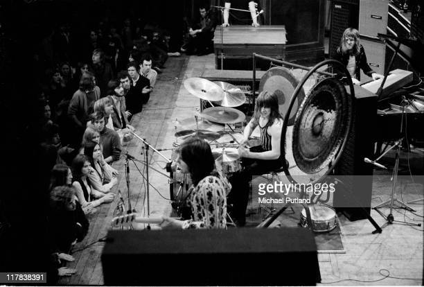 Emerson Lake and Palmer perform on stage at the Guildhall Portsmouth UK 30th March 1971 LR Greg Lake Carl Palmer and Keith Emerson