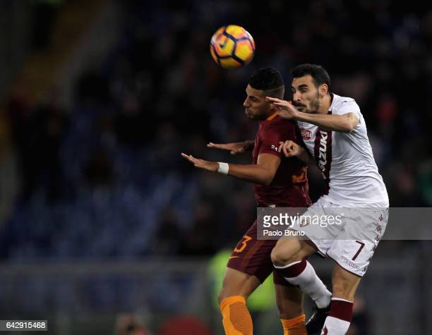 Emerson of AS Roma competes for the ball with Davide Zappacosta of FC Torino during the Serie A match between AS Roma and FC Torino at Stadio...