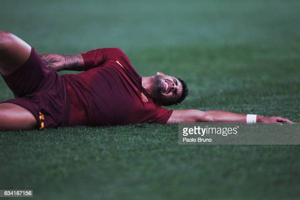 Emerson of AS Roma is injured during the Serie A match between AS Roma and ACF Fiorentina at Stadio Olimpico on February 7 2017 in Rome Italy