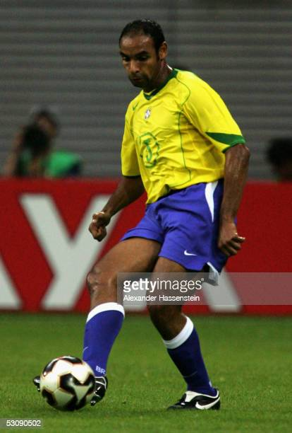 Emerson of Brazil in action during the FIFA Confederations Cup 2005 Match between Brazil and Greece on June 16 2005 in Leipzig Germany