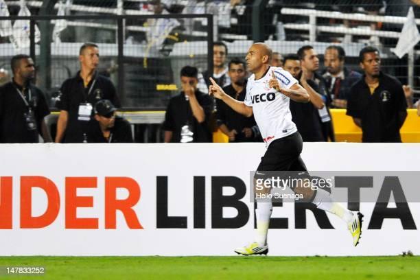 Emerson of Corinthians celebrates a goal against Boca Juniors during the second leg of the final of the Copa Libertadores 2012 between Boca Juniors...