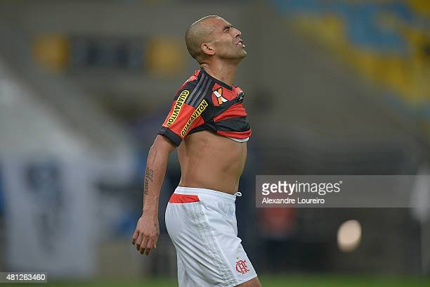 Emerson of Flamengo reacts during the match between Flamengo and Gremio as part of Brasileirao Series A 2015 at Maracana stadium on July 18 2015 in...