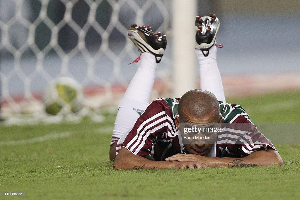 Emerson of Fluminense misses a goal during a match as part of Rio de Janeiro State Championship 2011 at Engenhao stadium on April 17 2011 in Rio de...