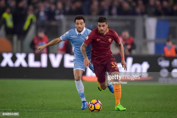 Emerson Palmieri and Felipe Anderson of SS Lazio during the TIM Cup match between SS Lazio and AS Roma at Olimpico Stadium on March 1 2017 in Rome...
