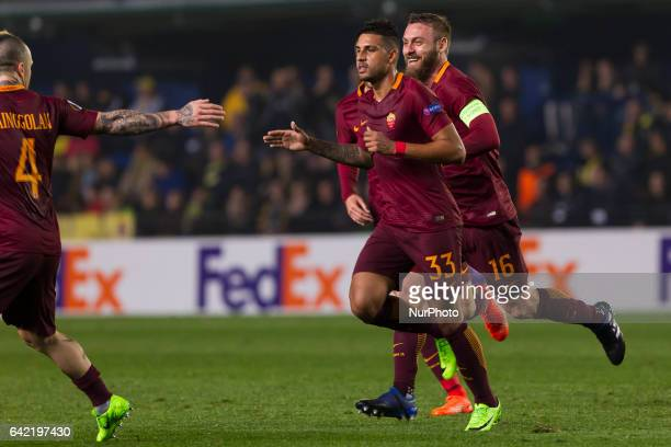 33 Emerson Palmieri dos Santos of AS Roma celebrates his goal during the UEFA Europa League Round of 32 first leg match between Villarreal CF and AS...