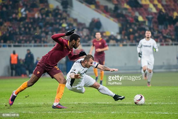 Emerson Palmieri of AS Roma and Denis Alibec of FC Astra Giurgiu during the UEFA Europa League 20162017 Group E game between FC Astra Giurgiu and AS...